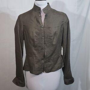 NWT Tahari Sparrow Brown Linen Jacket Size Medium